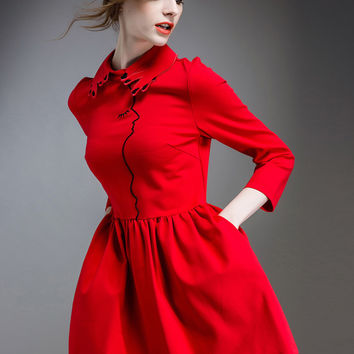 Red Half Sleeve Embroidered Mini Dress with Pocket