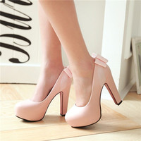 2016 Spring Sexy Dress Party Wedding Shoes Women Sweet Bowtie Slip On Round Toe Thick High Heels Pumps Red Bottom Plus Size Chic
