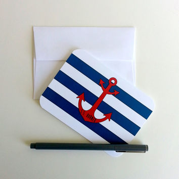 Nautical Note Card Personalized Thank You Note Cards Baby Shower Thank You Cards Striped Patterned Nautical Stationery Anchor Greeting Card
