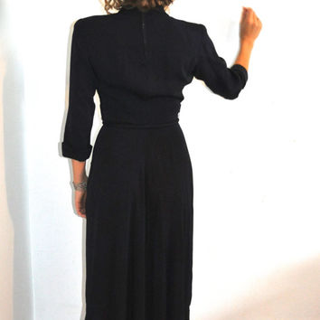 1940's Dress / 40's Navy Dress / Old Hollywood Glam