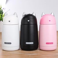 ThermosCup Cartoon Cat Thermo Mug Drinkware for Kids Stainless Steel Child Tumbler Leak-proof