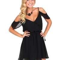 Love You Like I Can Black Open Shoulder Dress | Monday Dress Boutique