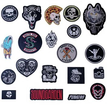 Evil Skull Iron On Patches Badges for Sew Seam Tailoring Clothes Suits of Coat Jacket Trousers T-shirt Pants Ornament Apparel
