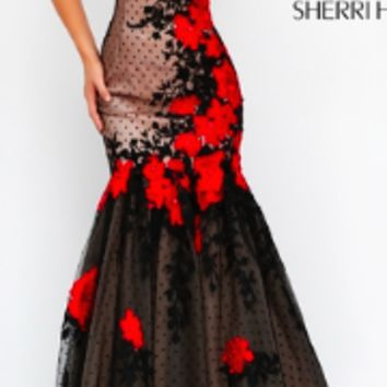 Black and Red Floral Sherri Hill Evening Dress