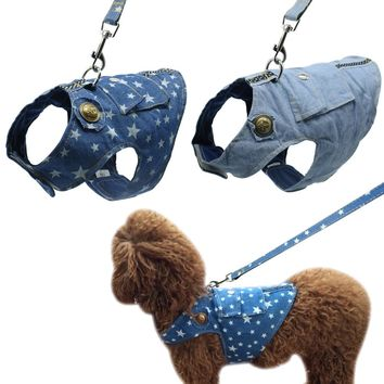 Denim Dog Harness and Leash Jeans Pet Vest Jacket For Small Puppy Dogs French Bulldog Pug Chihuahua Yorkshire Vest Clothes S M L
