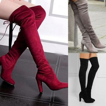 Sexy Block Lace up High Heel Boots Women's Over Knee High Suede Leather shoes women Ladies Fashion Thigh high Boots hot sale