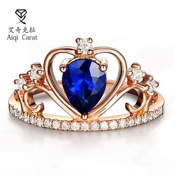 AIQICARAT 2017 Newest Fashion Crown Heart Design Blue Crystal Bijou Rings For Womens Party Wedding Engagement Date J