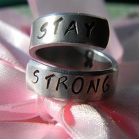 stay strong ribbon spiral ring