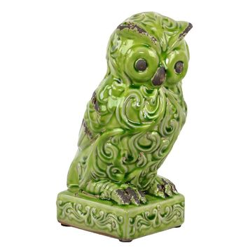 Attentive Ceramic Owl Figurine W/ Wide Open Eyes & Embellished W/ Beautiful Motifs O