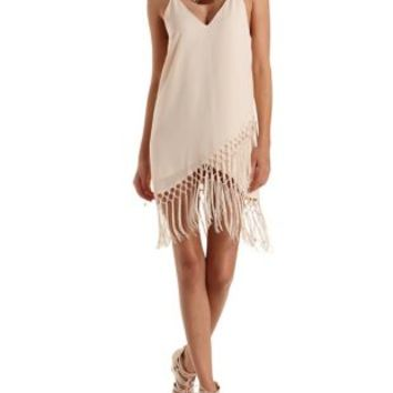 Peach Strappy Fringe Shift Dress by