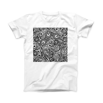 The Black and White Aztec Paisley ink-Fuzed Front Spot Graphic Unisex Soft-Fitted Tee Shirt