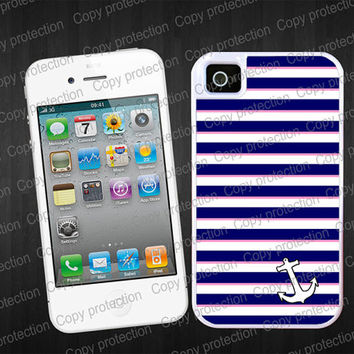 SALE Nautical 2 piece rubber lining iPhone case, iPhone 5 case - Anchor navy blue stripes iPhone 4 hard case, iPhone cover, iPhone hard cas