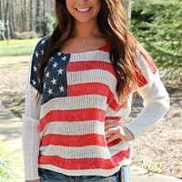 Long sleeve american flag printed top.