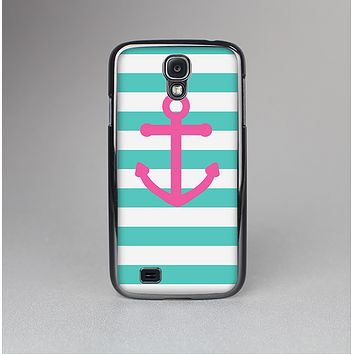 The Teal Striped Pink Anchor Skin-Sert Case for the Samsung Galaxy S4