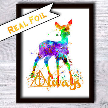 Always Harry Potter art print Harry Potter wall decor Harry Potter real foil poster Home decoration Kids room wall decor Gift idea G101