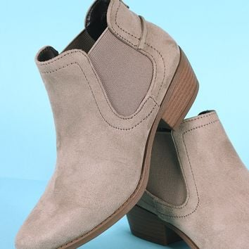 Qupid Suede Chelsea Almond Toe Ankle Boots