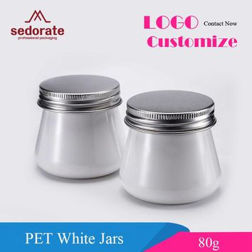 Sedorate 50 pcs/Lot PET White Jars For Cosmetic 80ML Facial Mask Plastic Containers With Aluminium Lid Food Storage Jars XM001