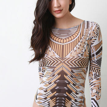 Geometric Semi-Sheer Longsleeve Bodysuit