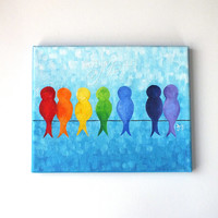 "Catch a Rainbow - Birds on a Wire, 8""x10"" acrylic canvas wall art."