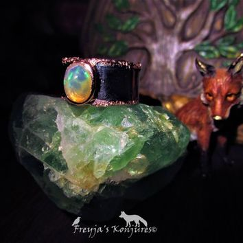 Vibrant Ethiopian Opal Black Rhodium & Rose Gold Silver Ring - Nature Magic, Love, Water Magic, Safe Travels, Spiritual Invisibility