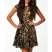 Women's sexy backless sequins short sleeve hollow out skater mini dress