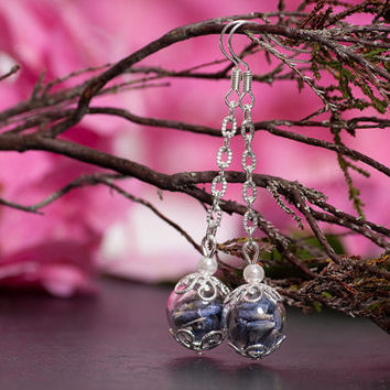 Wedding jewelry set, Bridesmaid set, with real lavender flowers, pearls and hand blown glass