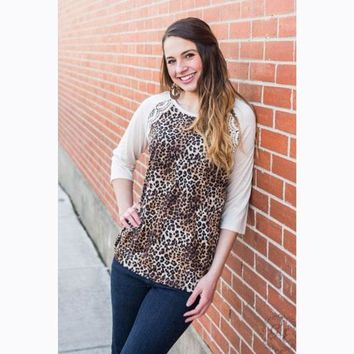 Mix Things Up Leopard and Lace Raglan Top