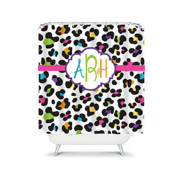 Shower Curtain Monogram Name CUSTOM Cheetah Animal Print Pattern Colorful Child Kid Boy Girl Bathroom Bath Polyester Made in USA