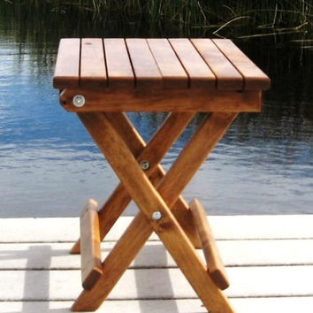 Handcrafted Wood Table Outdoor All Weather Camping Deck Beach Side Buster Folding Coffee Table