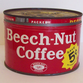 Vintage Beech-Nut Red Coffee Can - One Pound - Old Advertising Decor