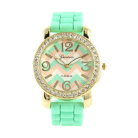 MIXED MINT CHEVRON STRIPES SPARKLING WATCH