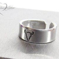 Cow Skull Ring - Handstamped Ring - Southwestern Jewelry - Skull Ring - Cowgirl Jewelry - Cowgirl Ring - Southern Girl - Western Jewelry