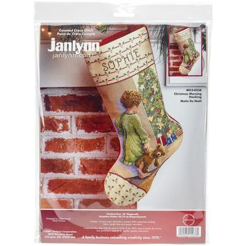 """Christmas Morning Stocking Counted Cross Stitch Kit 18"""" Long 14 Count"""