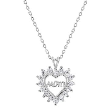 925 Sterling Silver Mom Necklace Pendant Clear Cubic Zirconia Open Heart 18""