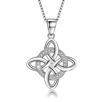 925 Sterling Silver Good Luck Polished Celtic Knot Cross Pendant Necklace For Womens