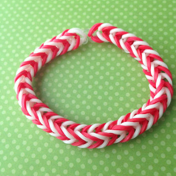 Red and White Rubber Band Bracelet - Rainbow Loom