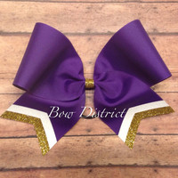 "3"" Purple Team Cheer Bow with White Glitter and Gold Glitter Tail Stripes"