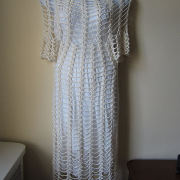 Crochet dress, Maxi, off white, lace bohemian princess, wedding, beach cover up, gypsy, mexican wedding, festival