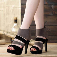 Fashion Casual Sandals Hollow Zip Exposed Toe Boots Women Platform Heels Shoes