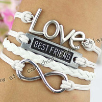 Best friend bracelet, infinity bracelet, LOVE bracelet, ancient silver charm, charm of white leather rope, girlfriend and BFF