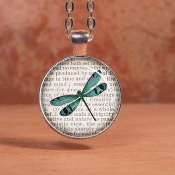 Dragonfly Print on Vintage Page Pendant Necklace Inspiration Jewelry