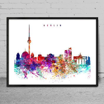 Berlin Watercolor Print, Berlin watercolor Art, Wall art, Berlin Skyline, Cities Art, Wall Art, typography art, Berlin Art-x14