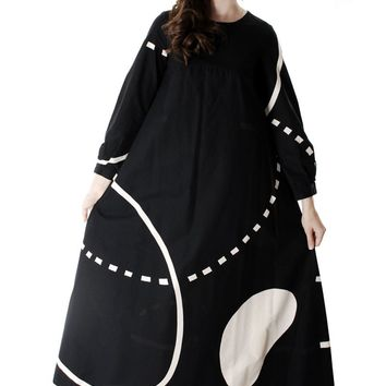 Vintage Marimekko| Pentti Rinta | Maxi Dress Bold Print 1976  Black & White Cotton Sz 34/6