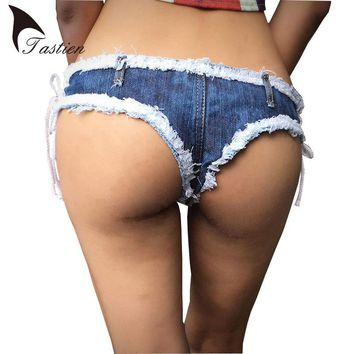 TASTIEN 2018 New Women Super Shorts Blue Jeans Denim Shorts Cotton Lace-up Sexy  Ladies Skinny Shorts Jeans Young Girls Clubwear