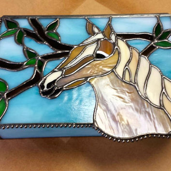Stunning Stained Glass Horse Jewelry Box, Men's Dresser Valet, Unique, Functional...A Great Special Gift!