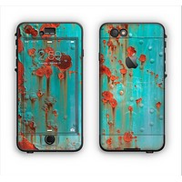 The Teal Painted Rustic Metal Apple iPhone 6 Plus LifeProof Nuud Case Skin Set