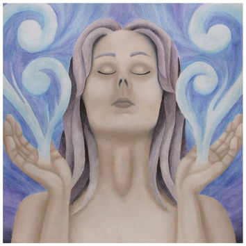 Aether Goddess Manifesting  - Canvas Mini of Acrylic Paint and Watercolor Pencil Fine Art