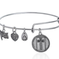 Alex and Ani  style Cross pattern pendant charm bracelet