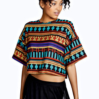 Coco Drop Shoulder Aztec Tapestry Print Top