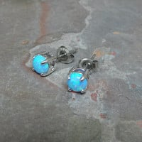 Turquoise Blue Fire Opal Post Earrings
